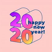 Happy New 2020 Year! Typographic Minimal Style Poster Design. Vector Illustration. poster