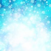 Magic Winter Glitter Background With Snowflakes. White Snowflakes On Light Blue Blurred Backdrop. Te poster