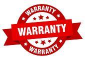 Warranty Ribbon. Warranty Round Red Sign. Warranty poster