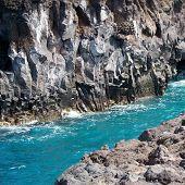 Water between two rocks.