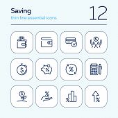 Saving Line Icon Set. Salary, Purse, Graph, Piggy Bank. Money Concept. Can Be Used For Topics Like B poster