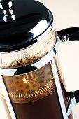 Photo of a Cafetiere with freshly brewed coffee inside, this is also know as a French press, Coffee