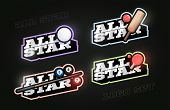 All Star Retro Style Sport Logo Set. Modern Professional Typography Golf, Cricket, Billiard, Ping Po poster