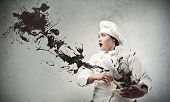 image of greedy  - chef prepares chocolate - JPG