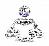picture of dyslexia  - Dyslexia in word collage - JPG