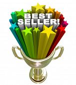 The words Best Seller in a burst of colorful stars in a golden trophy to symbolize the top selling p
