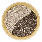 black and white chia seeds in a small ceramic bowl isolated on white