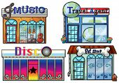 Illustration of a musical store, travel agent office, disco house and a pet shop on a white backgrou