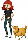 stock photo of friendship belt  - Illustration of a smiling girl and a dog on a white background - JPG