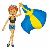 Illustration of a smiling girl with a national flag of sweden on a white background
