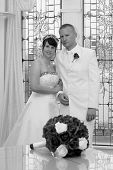 Bride And Groom And Flowers