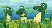 stock photo of dinosaur-eggs  - Illustration of three scary dinosaurs - JPG