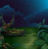 Illustration of a beautiful landscape in a dark night