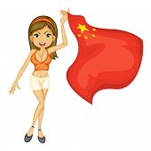 Illustration of a smiling girl with a national flag of China on a white background