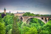 stock photo of water-mill  - View to Luxembourg City Panorama with bridge