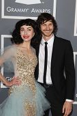 LOS ANGELES - FEB 10:  Kimbra, Gotye arrives at the 55th Annual Grammy Awards at the Staples Center