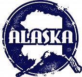 Vintage Style Alaska USA State Stamp