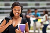 female african american college students on modern campus