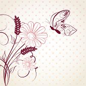 Abstract floral background with butterfly. Vector.
