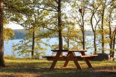 Picnic table near a lake