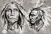 Native american indian head, chefes, estilo retro