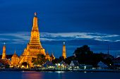picture of southeast  - Wat Arun The Temple of Dawn at twilight view across river - JPG