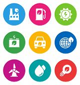 color circular environmental icons isolated on white background.  EPS 10 vector illustration, contai