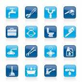 stock photo of stopcock  - plumbing objects and tools icons  - JPG