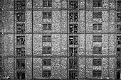 picture of derelict  - Broken windows in huge derelict warehouse - JPG