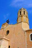 Facade of Church of Sant Bartomeu i Santa Tecla in Sitges, Spain