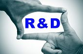 man hands making a frame with its fingers and the word RnD, research and development, written inside