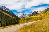 Scenic Drive to Maroon Bells in Autumn,Maroon Bells Wilderness, Aspen Colorado