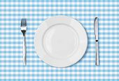 empty dinner plate top view on blue picnic table cloth