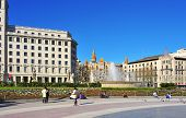 BARCELONA, SPAIN - JANUARY 25: View of Plaza Cataluna on January 25, 2013 in Barcelona, Spain. This square is considered to be the city center and some of the most important streets meet there