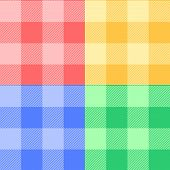 Gingham checkered fabric in pastel colors seamless pattern set, vector
