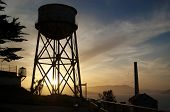 stock photo of alcatraz  - Photograph of the watertower on Alcatraz island in San Francisco Bay.