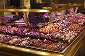 Sweet Shop In Market. Barcelona. Spain