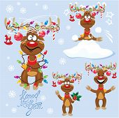 stock photo of antlers  - Set of four funny rein deers with christmas lights tangled in antlers  - JPG