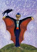 Halloween Funny Batcula With Crow