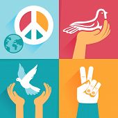 pic of hippy  - Vector set of peace signs and symbols  - JPG