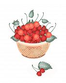 Brown Basket Of Fresh Red Cherries