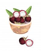 Brown Basket Of Fresh Purple Mangosteens