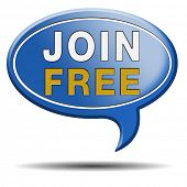 join us now and open a free account. Sign in icon or button for membership registration. Blue text balloon.