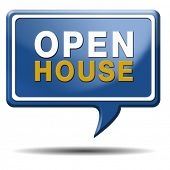 Open house for sale sign at model house for buying real estate property, blue balloon icon