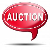 Auction button of houses cars and real estate. Online bidding icon or banner.