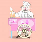 stock photo of ice-cream truck  - Ice cream vendor with cart - JPG