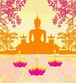 Sukhothai Loy Krathong Festival , Silhouette Of A Buddha