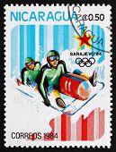 Postage Stamp Nicaragua 1983 Bobsledding, 14Th Winter Olympics,