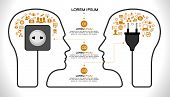 Template infographic. Concept of modern business and teamwork. Two Human head with the brain, business icons, plug,  socket, File stored in version AI10 EPS. This image contains transparency.
