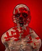 stock photo of festering  - Really horrible looking zombie covered in blood art and illustration - JPG